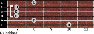 D7 add(m3) for guitar on frets 10, 8, 7, 7, 7, 8