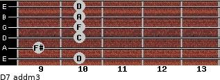 D7 add(m3) for guitar on frets 10, 9, 10, 10, 10, 10