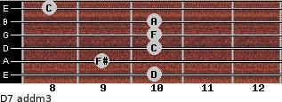D7 add(m3) for guitar on frets 10, 9, 10, 10, 10, 8