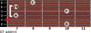 D7 add(m3) for guitar on frets 10, x, 7, 10, 7, 8