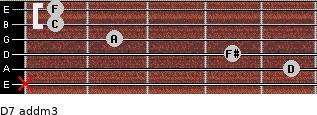 D7 add(m3) for guitar on frets x, 5, 4, 2, 1, 1