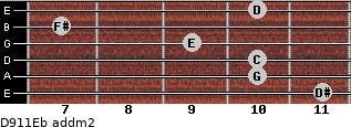 D9/11/Eb add(m2) guitar chord