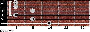 D9/11#5 for guitar on frets 10, 9, 8, 9, 8, 8