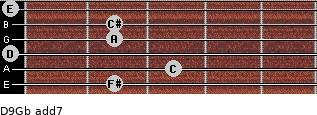 D9/Gb add(7) guitar chord