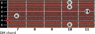 DM for guitar on frets 10, x, 7, 11, 10, 10