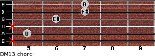 DM13 for guitar on frets x, 5, x, 6, 7, 7