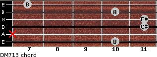 DM7/13 for guitar on frets 10, x, 11, 11, 10, 7
