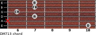 DM7/13 for guitar on frets 10, x, 7, 6, 7, 7