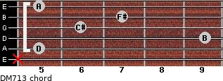 DM7/13 for guitar on frets x, 5, 9, 6, 7, 5