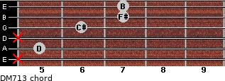 DM7/13 for guitar on frets x, 5, x, 6, 7, 7
