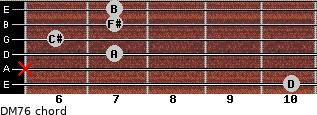 DM7/6 for guitar on frets 10, x, 7, 6, 7, 7