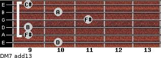 DM7(add13) for guitar on frets 10, 9, 9, 11, 10, 9