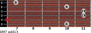 DM7(add13) for guitar on frets 10, x, 11, 11, 10, 7