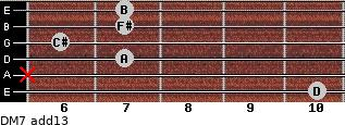 DM7(add13) for guitar on frets 10, x, 7, 6, 7, 7