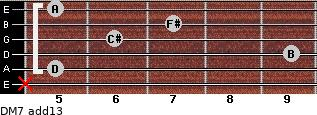 DM7(add13) for guitar on frets x, 5, 9, 6, 7, 5