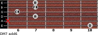 DM7(add6) for guitar on frets 10, x, 7, 6, 7, 7