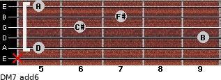 DM7(add6) for guitar on frets x, 5, 9, 6, 7, 5