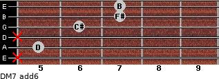 DM7(add6) for guitar on frets x, 5, x, 6, 7, 7