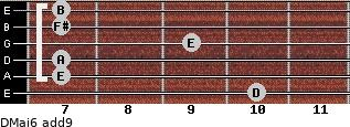 DMaj6(add9) for guitar on frets 10, 7, 7, 9, 7, 7
