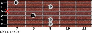 Db11/13sus for guitar on frets 9, 9, 8, x, 9, 7