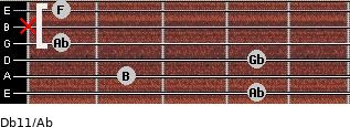 Db11/Ab for guitar on frets 4, 2, 4, 1, x, 1