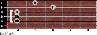 Db11#5 for guitar on frets x, 4, 4, 4, 6, 5