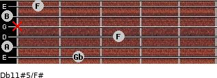 Db11#5/F# for guitar on frets 2, 0, 3, x, 0, 1