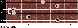 Db13#5/Bb for guitar on frets 6, 4, 3, 3, 6, 5