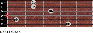 Db6/11sus/Ab for guitar on frets 4, 1, x, 3, 2, 2
