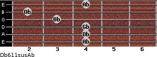 Db6/11sus/Ab for guitar on frets 4, 4, 4, 3, 2, 4
