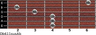 Db6/11sus/Ab for guitar on frets 4, 4, 4, 3, 2, 6