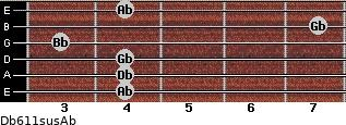 Db6/11sus/Ab for guitar on frets 4, 4, 4, 3, 7, 4
