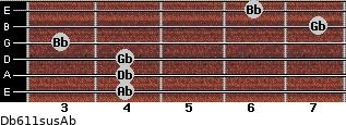 Db6/11sus/Ab for guitar on frets 4, 4, 4, 3, 7, 6