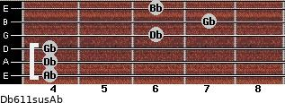 Db6/11sus/Ab for guitar on frets 4, 4, 4, 6, 7, 6
