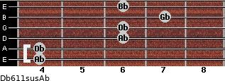 Db6/11sus/Ab for guitar on frets 4, 4, 6, 6, 7, 6