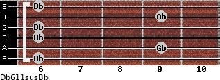 Db6/11sus/Bb for guitar on frets 6, 9, 6, 6, 9, 6