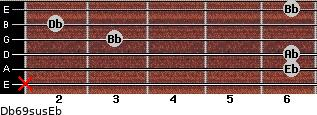 Db6/9sus/Eb for guitar on frets x, 6, 6, 3, 2, 6