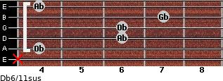 Db6/11sus for guitar on frets x, 4, 6, 6, 7, 4