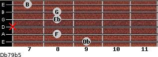 Db7/9(b5) for guitar on frets 9, 8, x, 8, 8, 7