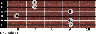 Db-7(add11) for guitar on frets 9, 9, 6, 9, 7, 7