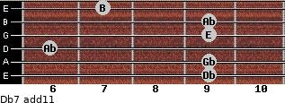 Db-7(add11) for guitar on frets 9, 9, 6, 9, 9, 7