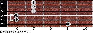 Db9/11sus add(m2) guitar chord