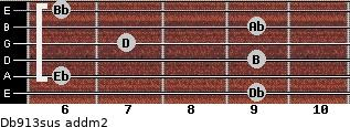 Db9/13sus add(m2) guitar chord
