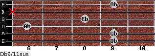 Db9/11sus for guitar on frets 9, 9, 6, 8, x, 9