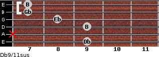 Db9/11sus for guitar on frets 9, x, 9, 8, 7, 7