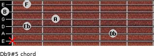 Db9(#5) for guitar on frets x, 4, 1, 2, 0, 1