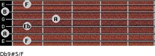 Db9#5/F for guitar on frets 1, 0, 1, 2, 0, 1