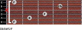 Db9#5/F for guitar on frets 1, 2, 3, x, 4, 1