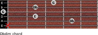 Dbdim for guitar on frets x, 4, 2, 0, 2, 3