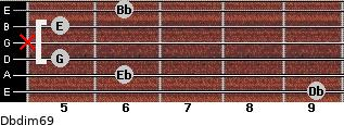 Dbdim6/9 for guitar on frets 9, 6, 5, x, 5, 6